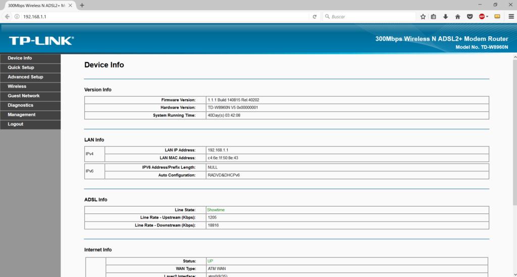 página de onfiguración router tplink