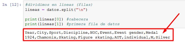 ejemplo primeras filas csv separado