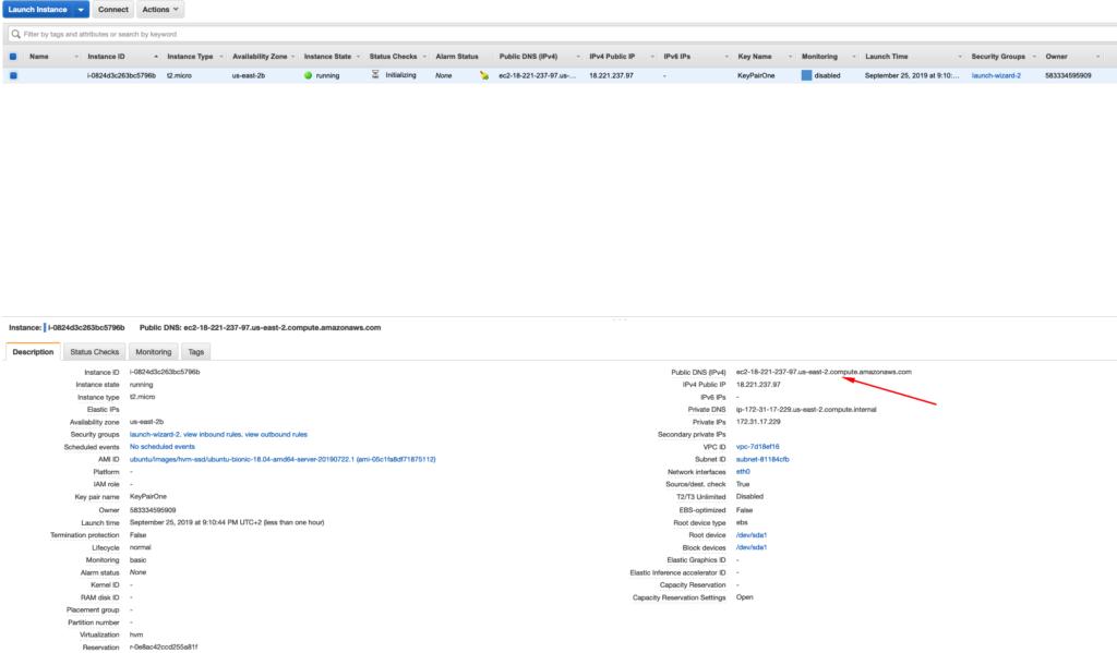 informacion detallada instancia EC2 AWS