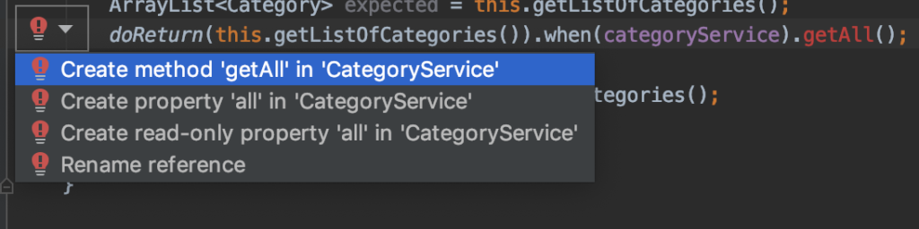 TDD IntelliJ auto generate new method