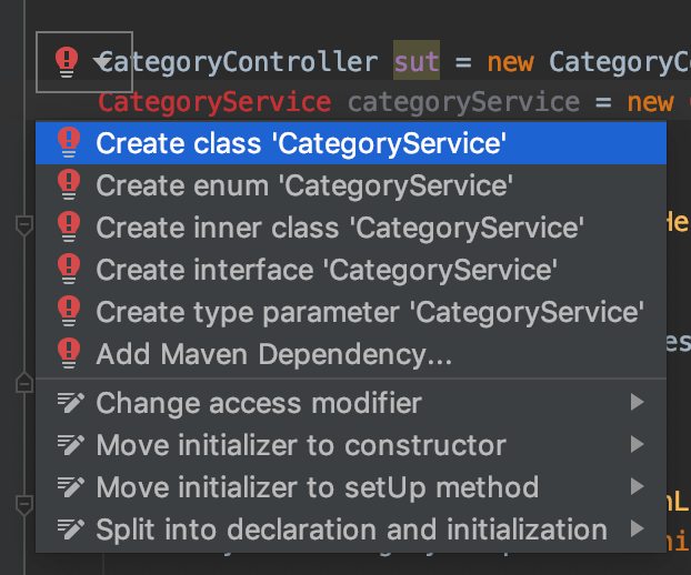 Intellij TDD auto generate new class